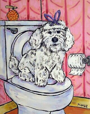 POODLE coffee dog reproduction of painting 11x14  art artist PRINTs gift