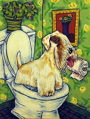 sealyham terrier dog art  4x6   bathroom  abstract folk GLOSSY PRINT