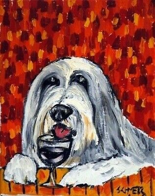 WINE bar art  of a Bearded COLLIE poster gift modern folk 4x6   GLOSSY PRINT