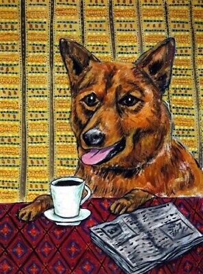 FINNISH SPITZ DOG art PRINT coffee wall print 13x19 signed JSCHMETZ