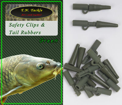 40pc Safety Clip + Tail Rubber Set Blei-Clips Bolt Rig Boilie-Montage Carp 20+20