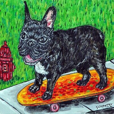 french bulldog dog art tile coaster gift skate boarding JSCHMETZ