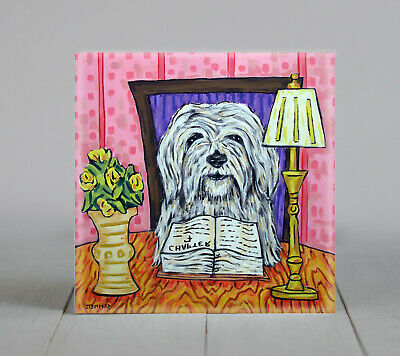 havanese reading dog art tile coaster gift impressionism artist modern new