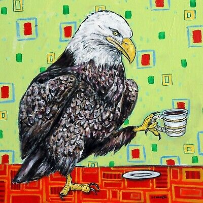 eagle bird art tile COASTER gift JSCHMETZ modern folk art coffee