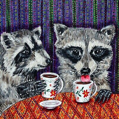 COFFEE art raccoon print on ceramic modern tile coaster gift modern folk