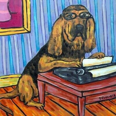 BLOODHOUND dog art ceramic tile coaster gift JSCHMETZ modern folk typewriting