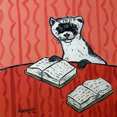 Ferret reading art tile coaster gift artwork librarian