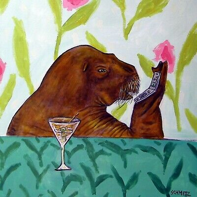 WALRUS art ceramic tile coaster gift modern folk JSCHMETZ cell phone