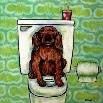 irish setter in the Bathroom picture coaster DOG art ceramic TILE abstract folk