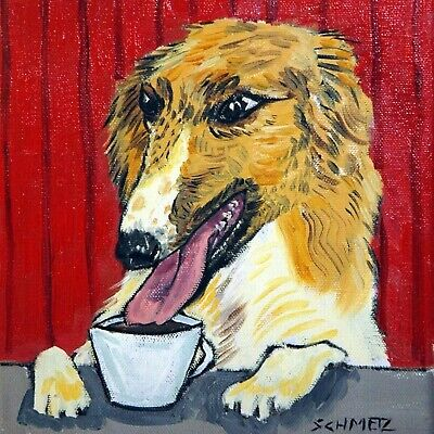 BORZOI with coffee art print on ceramic TILE coaster gift modern cafe JSCHMETZ