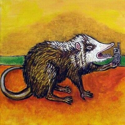 MOON RAT CELL PHONE RODENT animal art tile coaster gift
