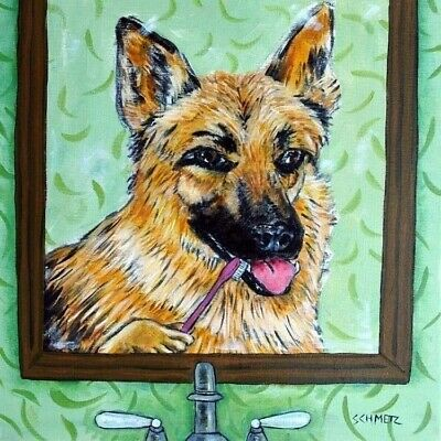 German Shepherd flossing dog art tile coaster gift artwork