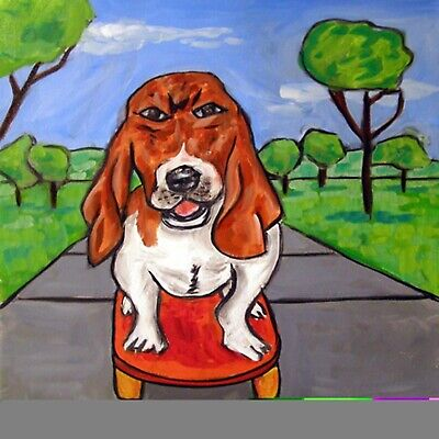 skate boarding basset hound dog art print on ceramic TILE JSCHMETZ modern gift