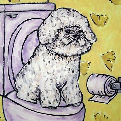 Bichon frise in the bathroom dog art tile coaster gift modern artwork folk