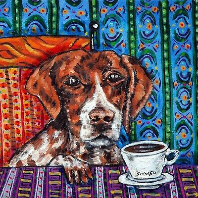 pointer dog art ceramic tile COASTER gift JSCHMETZ modern folk art coffee