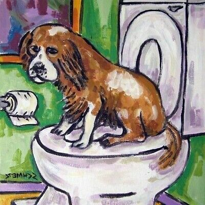 Cavalier King charles spaniel dog - bathroom folk art print on tile coaster