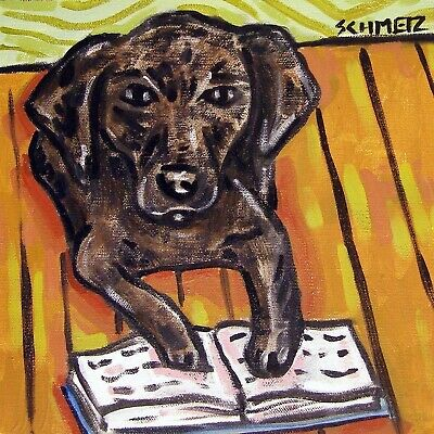 gift for librarian black labrador retriever print on tile ceramic coaster