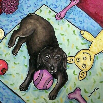LABRADOR RETRIEVER print on tile ceramic coaster dog with toy modern art gift
