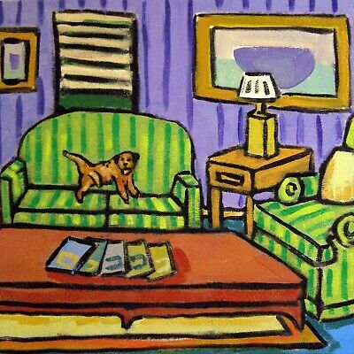 Border terrier tile ceramic coaster gift dog art print dog peeing on couch