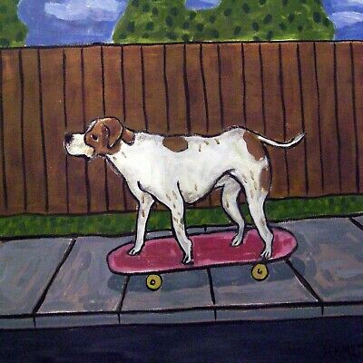 skate boarding dog art TILE coaster pointer JSCHMETZ modern folk
