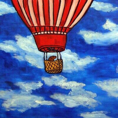 sea lion in a hot air balloon coaster animal art tile