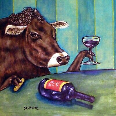 WINE art print of a cow on TILE ceramic COASTER modernfolk art  gift JSCHMETZ
