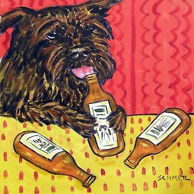 Affenpinscher at the bar drinking beer signed dog art print 8x10 artwork gift