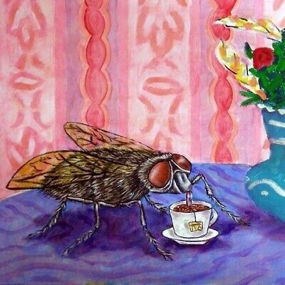 house fly at the coffee shop ceramic insect art tile