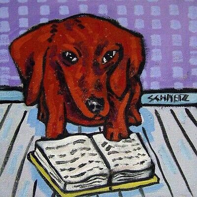 Dachshund dog - TILE - ceramic coaster - gift for librarian - modern folk art
