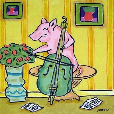 pig cello picture art tile coaster animal pet gift
