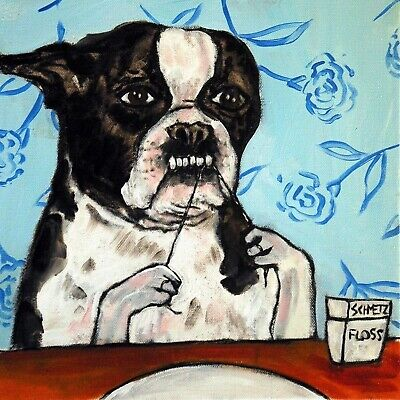 boston terrier Flossing ceramic dog art tile coaster bathroom artwork