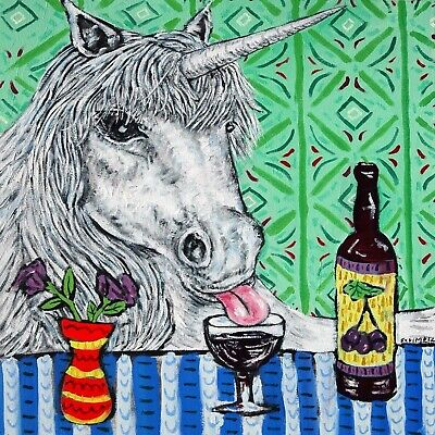 unicorn art tile COASTER gift JSCHMETZ modern folk art horse wine