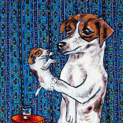 jack russell terrier jrt dog art tile COASTER gift JSCHMETZ ventriloquist