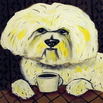 bichon frise at the cafe coffee shop dog art tile coaster gift