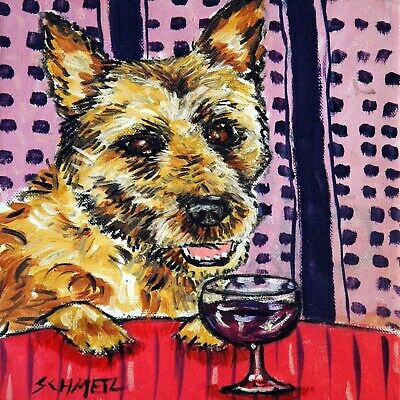 4.25x4.25 inch Belgian shepherd wine art dog ceramic coaster TILE abstract folk