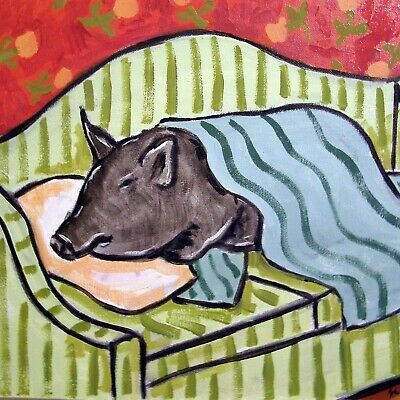 sleeping pig print on CERAMIC TILE coaster gift modern couch JSCHMETZ