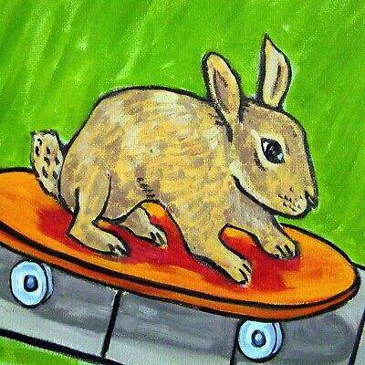 bunny rabbit TILE ceramic coaster gift skateboarding modern folk art JSCHMETZ