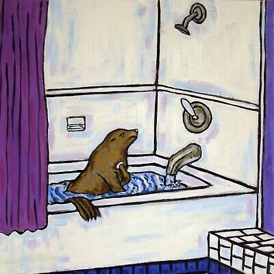 4.25 x 4.25 inch Sea lion PRINT on ceramic art bathroom TILE coaster gift