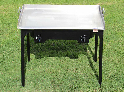 CONCORD 32 x17 Stainless Steel Flat Top Griddle Grill w/ Manual Dbl Burner Stove