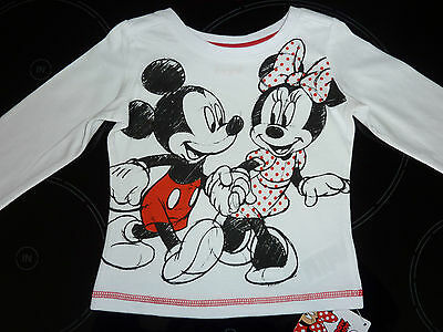 DISNEY Really Cute MINNIE and MICKEY Long Sleeve White Top NWT