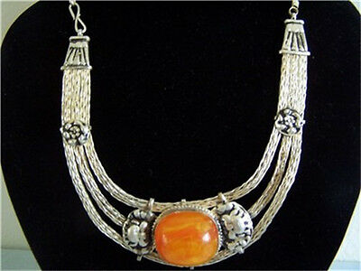 Unique Tibetan Copper Wire Big Beeswax Amber Necklace -Sexy feminine looking!