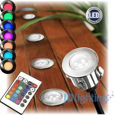 6 Pack Rgb Colour Changing Led Deck Light Diy Stainless Steel-Brilliant Cavetto