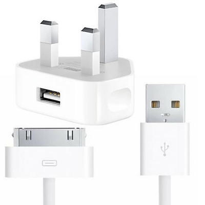 Genuine Apple iPad 3, 2 & 1 Mains Wall Home UK Charger & Sync USB Data Cable 5W