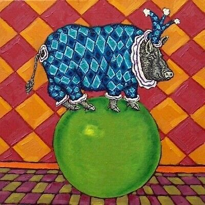 pot belly pig jester animal art tile coaster JSCHMETZ gift
