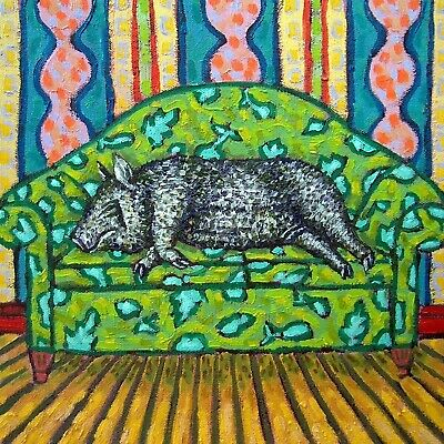 black pot belly pig art tile coaster gift JSCHMETZ reclining nude in art