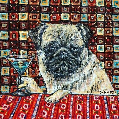 PUG martini art tile coaster gift JSCHMETZ