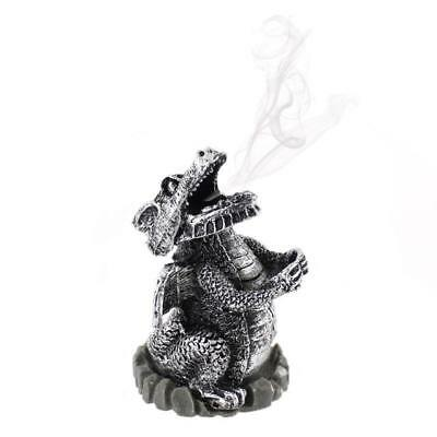 Smoking Dragon Incense Cone Burner Ideal Gift SILVER