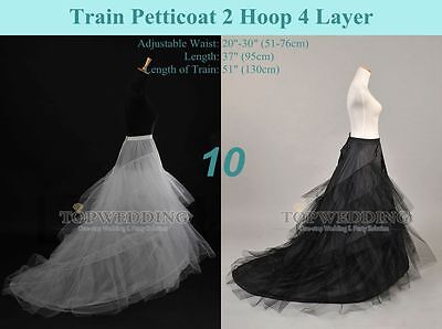 White/Black Train Petticoat Slips Underskirt Crinoline for Wedding(US STOCK)