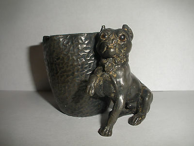 ANTIQUE VICTORIAN DERBY SILVER CO PLATED FIGURAL DOG TOOTH PICK HOLDER