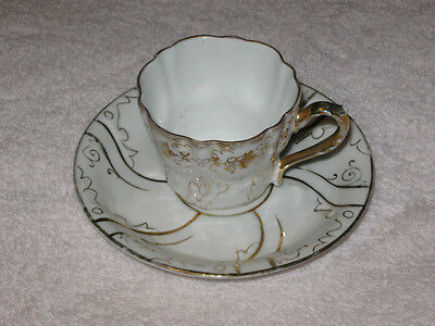 Antique Small China Teacup & Saucer - White With Flowers & Gold Trim